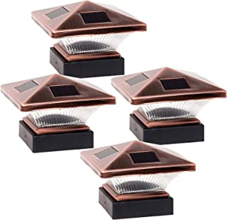 GreenLighting (4 Pack) Siena Solar Post Cap Deck Light for 4x4 Nominal Wood or 4X4 & 5x5 PVC, Vinyl Posts (Bronze)