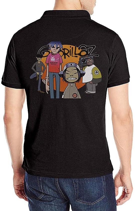 アカデミータイムリーな小道ゴリラズ Gorillaz ポロシャツメンズ半袖 モーション 花柄 通気性 贈り物 Tシャツ
