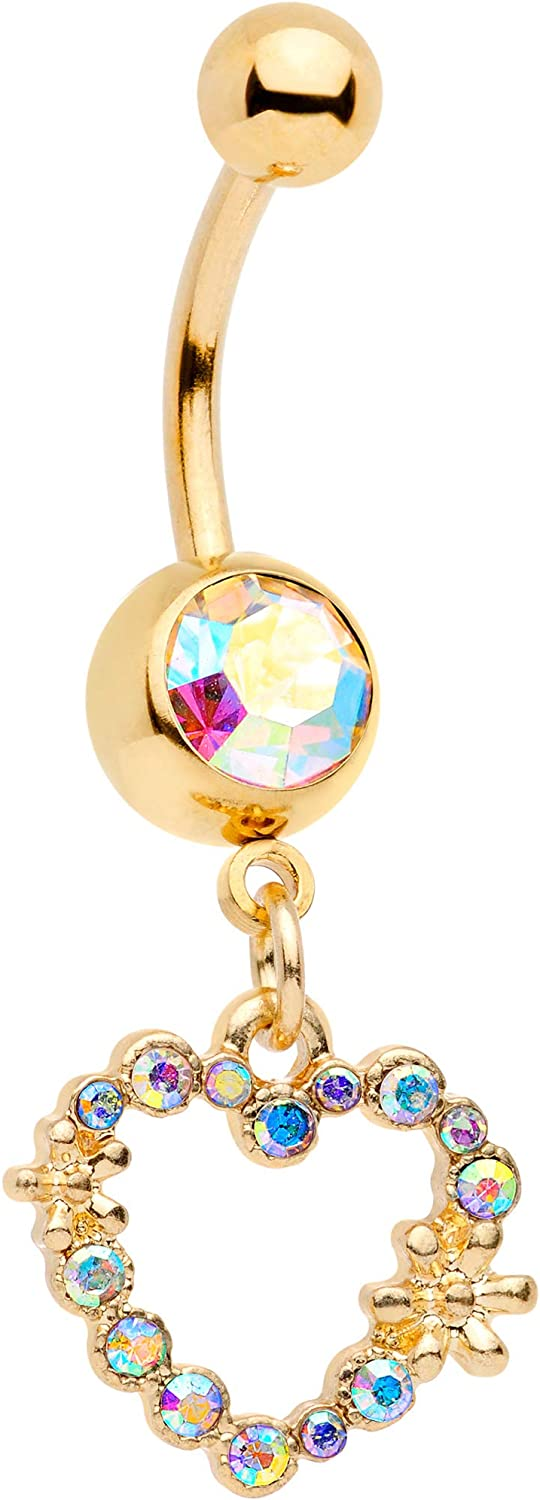 Body Candy Gold Tone PVD Steel Navel Ring Piercing Aurora Accent Heart Dangle Belly Button Ring 11mm