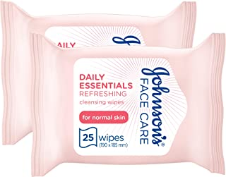 JOHNSON'S Cleansing Wipes Daily Essentials Refreshing Normal Skin 25 wipes pack of 2