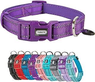 YUDOTE Reflective Nylon Dog Collar, Adjustable Soft Classic Puppy Collars with Neoprene Padded, for Large Medium Small Dog...