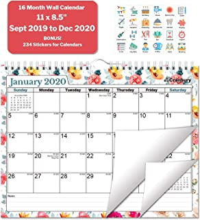 Wall Calendar 2020 (Floral) 11x8.5 Inch Monthly Wall Calendar, Use September 2019 to December 2020, with Stickers for Calendars, Hanging Calendar 2019 2020 by Cranbury