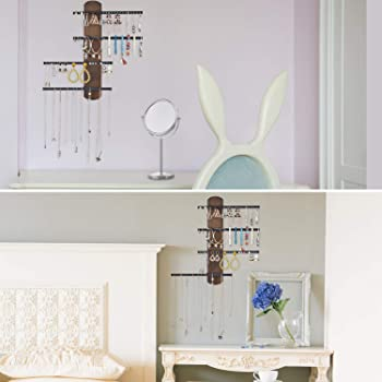 Keebofly Wall Mounted Jewelry Organizer Rustic Wood & Ample Storage with 4-Tier Jewelry Rack for Bracelets, Necklaces...