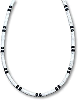 5mm White Heishe Puka Shell, 2 Black Coco Surfer Necklace - 5mm (3/16)