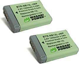 Wasabi Power NB-13L Battery (2-Pack) for Canon PowerShot G1 X Mark III, G5 X, G7 X, G7 X Mark II, G9 X, G9 X Mark II, SX62...