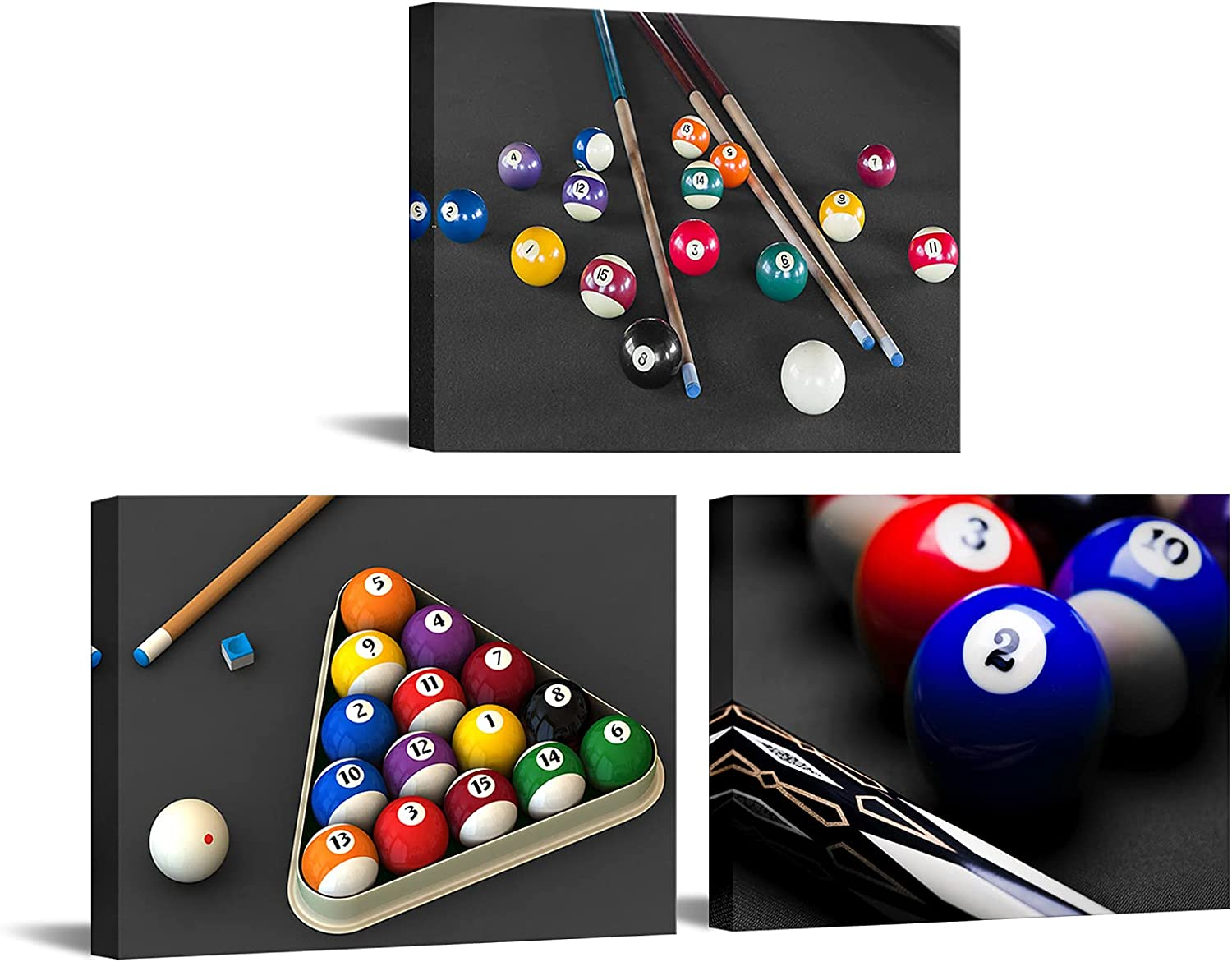 Nachic Wall 3 Cheap mail order sales Pieces Canvas Al sold out. Art Balls and Black Billiard in