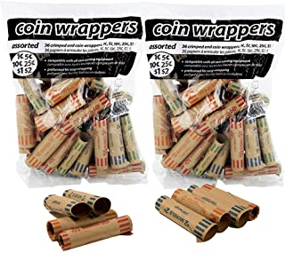 ATB 72 pcs Preformed Coin Tubes Paper Coin Wrapper Shotgun Roll, Assorted - Quarter, Dime, Nickel, Penny