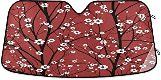 Oarencol Red Cherry Tree Car Windshield Sun Shade Japanese White Flower Floral Anime Blossom Foldable UV Ray Sun Visor Pro...