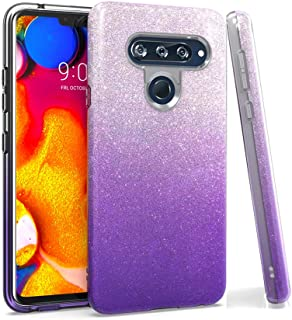 LG V40 Case, LG V40 ThinQ Case, TQHH Luxury Glitter Phone Case,Shockproof Rubber TPU Armor and Rugged PC Protective Back Cover, for LG V40 Case(Purple)