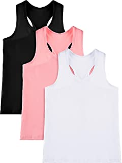 3 Pieces Girl Dance Tank Top Sleeveless Racerback Crop Tank Top Girl Dancewear for Ballet Dance