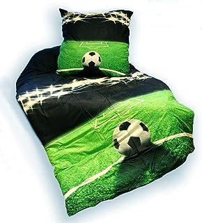 Fußball Bettwäsche ca. 135x200 cm  ca. 80x80 cm für absolute Fußballfans Farbe grün schwarz