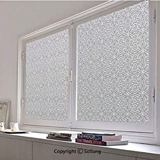 30x48 inch Decorative Window Privacy Film,Ethnic Antique Design Geometrical Shapes Symmetric Graphic Chevron Modern Display Frosted Stained Window Clings Static Cling for Home Bedroom Office