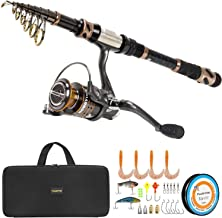 PLUSINNO Fishing Rod and Reel Combos – Carbon Fiber Telescopic Fishing Pole –..