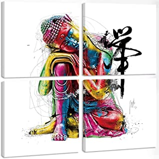 TONZOM Canvas Wall Art Stretched By Frame Ready To Hang 4 Panel Picture Print on Canvas for Modern Home Decoration (Colorful Zen Buddha Statue,12x12inchx4)