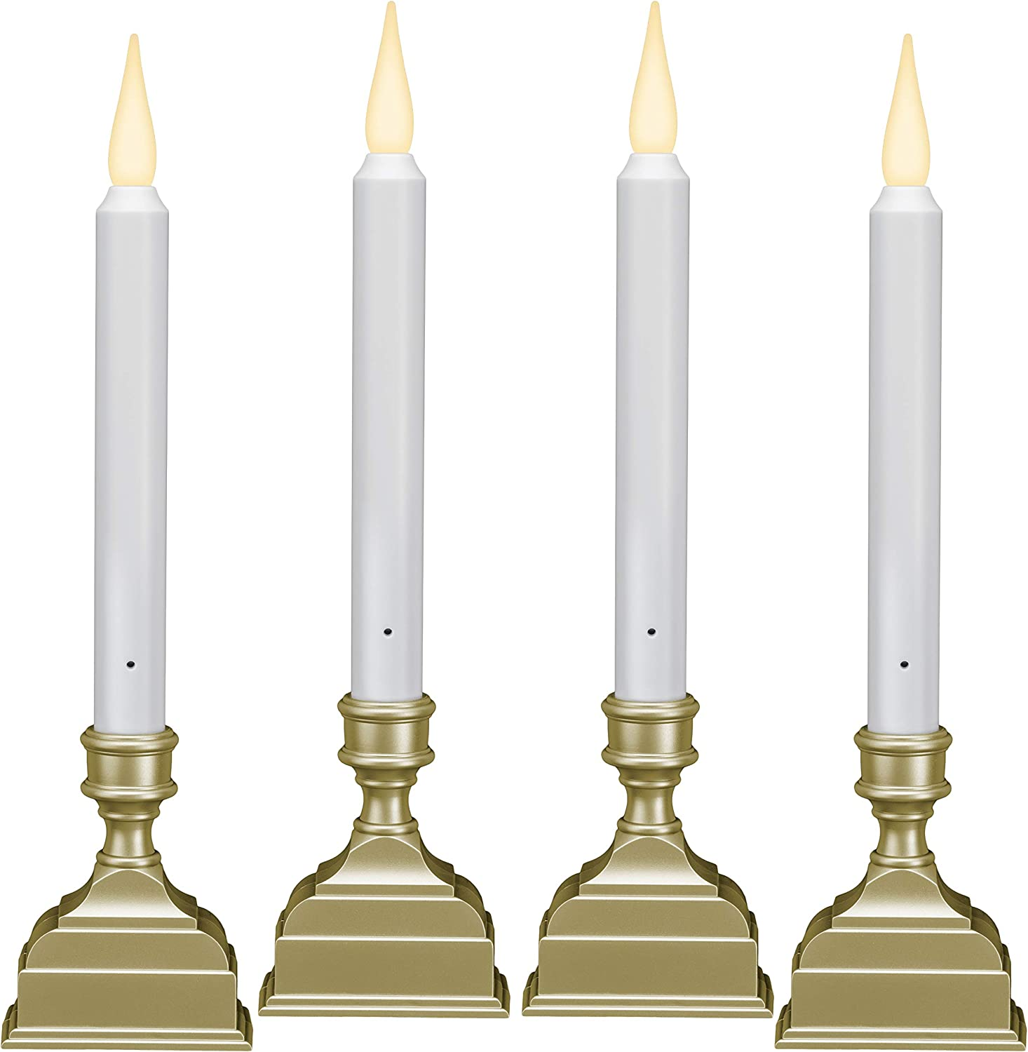 612 Vermont Battery Operated LED Window Candle with Sensor and 8 Hour Timer, Patented Dual LED Flicker Flame, VT-1620P-4 (Pack of 4, Pewter)