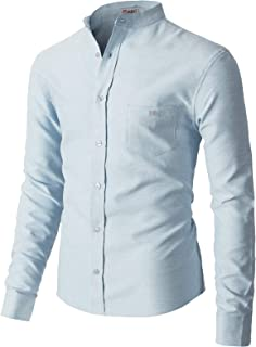 H2H Mens Casual Oxford Cotton Slim Fit Button-Down Shirts Long Sleeve
