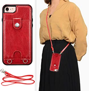 DEFBSC iPhone 6 Plus iPhone 6S Plus Crossbody Wallet Case,Premium Leather Case with Detachable Adjustable Crossbody Strap and Credit Card Slots for iPhone 6 Plus/6S Plus 5.5 Inch-Red