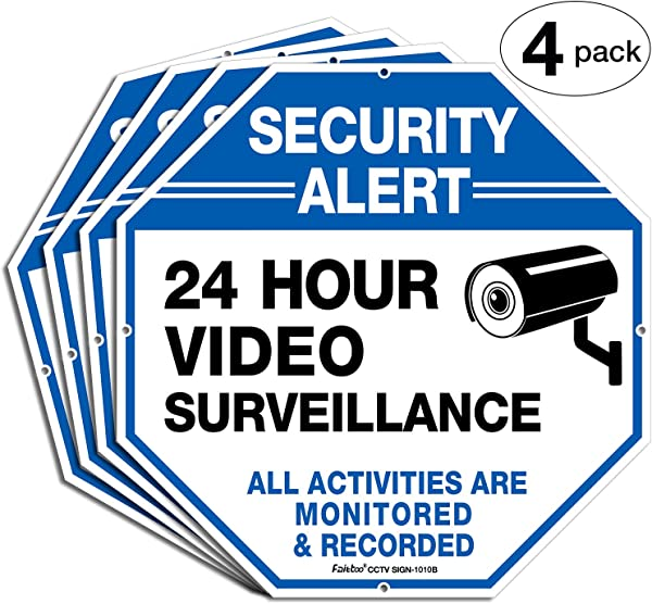 4 Pack Security Alert 24 Hour Video Surveillance All Activities Monitored Signs 10 X 10 040 Aluminum Reflective Warning Sign For Home Business CCTV Security Camera Indoor Or Outdoor Use Blue