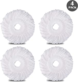 4 Pack Microfiber Replacement Mop Head Refill for 360° Spin Magic Mop - Round Shape Standard Universal Size for Hurricane Mopnado EGOFLEX Hapinnex Casabella