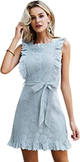 Simplee Women's Half Sleeve Elegant Hollow Out Party Lace A Line Mini Dress Gown