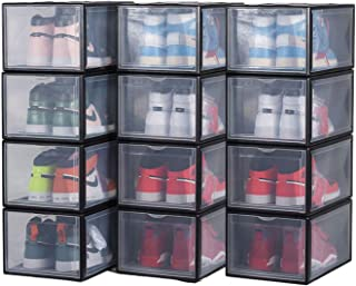 OTYTY Shoe Boxes Clear Plastic Stackable, Drop Front Shoe Display Box Large Storage Containers Shoe Box Organizer for Snea...