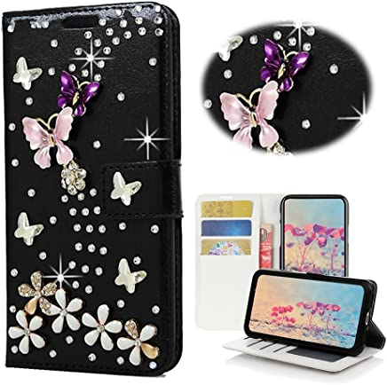 STENES LG Stylo 3 Case, LG Stylo 3 Plus Case - STYLISH - 3D Handmade Bling Crystal S-Link Butterfly Floral Wallet Credit Card Slots Fold Media Stand Leather Cover Case - Black