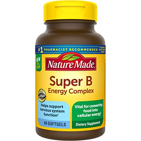 Nature Made Super B Energy Complex, Dietary Supplement for Nervous System Support, 60 Softgels, 60 Day Supply