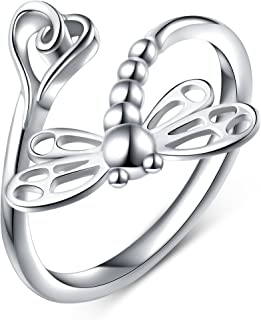 DAOCHONG 925 Sterling Silver Open Animal Rings for Women (Resizable Ring)