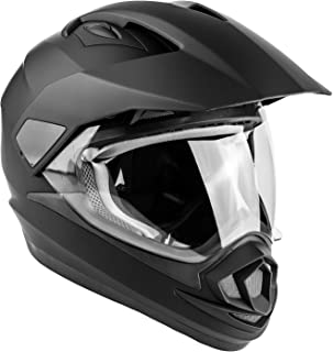 Typhoon XP14 Full Face Dual Sport Helmet Off Road UTV ATV Motorcycle Enduro - Matte Black - Medium