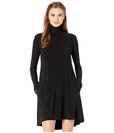 KAMALIKULTURE by Norma Kamali Long Sleeve Turtle Swing Dress (Black) Women