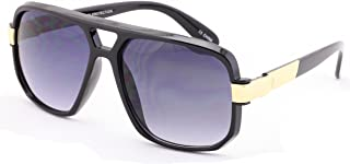 Classic Square Frame Plastic Flat Top Aviator with Metal Trimming Sunglasses