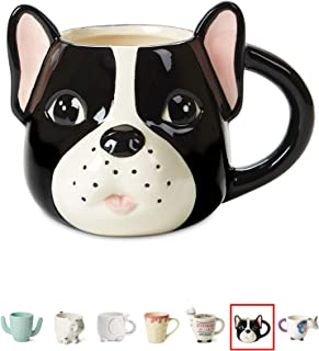 Ceramic Coffee or Tea Mugs: Tri-Coastal Design Pug Dog Coffee Mug with Hand Printed Designs - 18.6 Fluid Ounce Large, Cute Handmade Cup