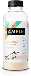 Ample - Meal Replacement Shake in a Bottle, (Pack of 12) Meals, Regular 400 Calories, Made with Natural Real Food Ingredients - Vanilla