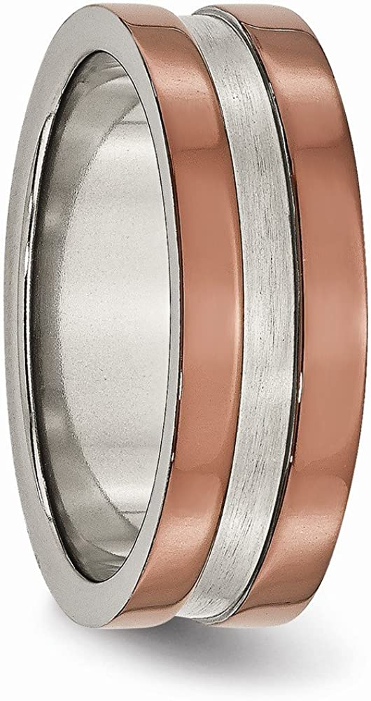 ICE CARATS Titanium Grooved 8mm Brown Plated Brushed Center Wedding Ring Band Fashion Jewelry for Women Gifts for Her