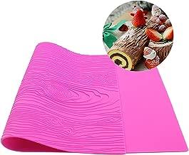 Warmoor Silicone Cake Fondant Mat, Woodgrain Impression Lace Mold (pink)