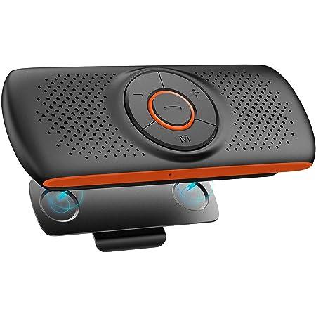 【2021最新版】NETVIP 車載用 Bluetoothスピーカー ワイヤレスポータブルスピーカーハンズフリー 通話 音楽再生 LINE通話対応 内蔵マイク GPSナビゲーション GoogleアシスタントとSiriをサポート TFカード大音量でクリアな音楽 高音質自動電源OFF ブルートゥース 磁気クリップ付 2台待ち受け 父の日ギフト 技適認証済み
