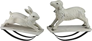 Melrose Pack of 2 Antique Finish Cream Colored Rocking Bunny Rabbit and Lamb Table Top Decorations