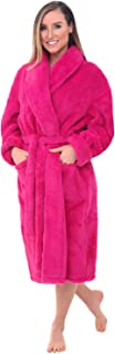 Alexander Del Rossa Women's Plush Fleece Robe, Warm Long Hair Shaggy Bathrobe