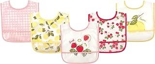 Hudson Baby Waterproof Bib with Crumb Catcher Pocket, Strawberries & Lemons