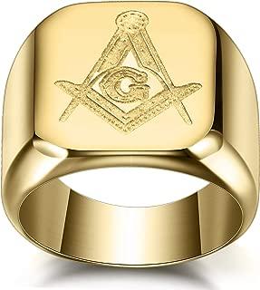 VQYSKO 316L Stainless Steel Masonic Ring for Men Master Masonic Signet Ring Mason Ring Jewelry