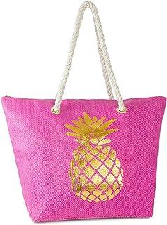 Funky Junque Womens Beach Tote Saying Shoulder Bag Large Straw Travel Handbag