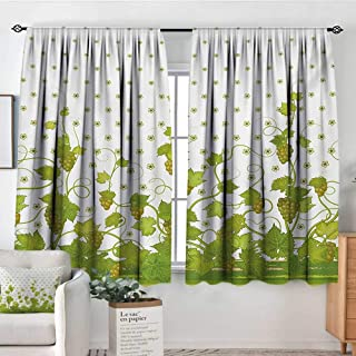 All of better Vineyard Thermal Insulating Blackout Curtain Flowers Cluster Sherry Leaf Province Garden Retro Refreshing Tasty Countryside Rustic Patterned Drape for Glass Door 63