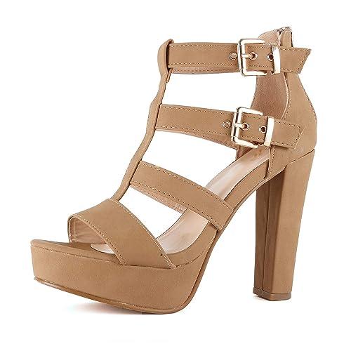 5abf1177a27cc Guilty Shoes Womens Cutout Gladiator Ankle Strap Platform Block Heel  Stiletto Sandals