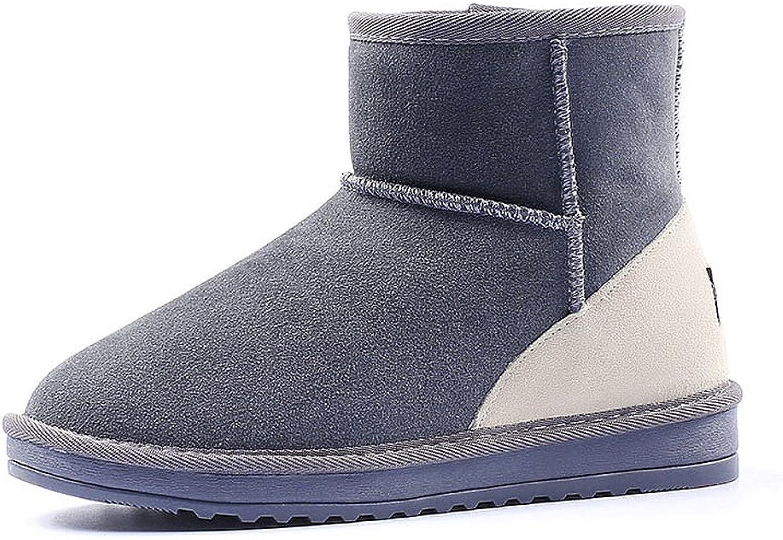 Damen Schnee Stiefel Winter Farbe passende Studenten kurze Stiefel rutschfeste dicke Leder flache Schuhe ( Farbe   Grau , Größe   US 6.5\UK 5.5\EUR 38 )
