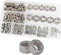 Hex Nuts Metric Thread Hexagon Coarse Nut Silver Tone Standard Fastener Hardware 210Pcs M2 M2.5 M3 M4 M5 M6 M8 M10 M12 Ass...