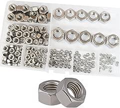 Hex Nuts Metric Thread Hexagon Coarse Nut Silver Tone Standard Fastener Hardware 210Pcs M2 M2.5 M3 M4 M5 M6 M8 M10 M12 Assortment Kit Set Box 304 Stainless Steel