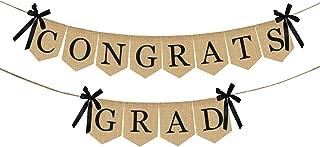 Burlap Congrats Grad Graduation Banner - No DIY Required | Rustic Vintage Graduation Decorations Sign for College Grad Party and High School Graduation Party Supplies 2019