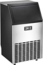 AGLUCKY Commercial Ice Maker Machine High Efficiency Large Ice Machine Independent Cabinet 28.8lbs Storage 100lb/24h with Ice Shovel