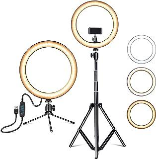 Amconsure LEDリングライト高安定性 三脚スタンド+卓上スタンド 照明撮影用ライトセット 10in/3色モード/10輝度調光 3000K-5600K 補助光 自撮り写真/美容化粧/Youtube/tiktok/ビデオカメラ撮影用(日本...