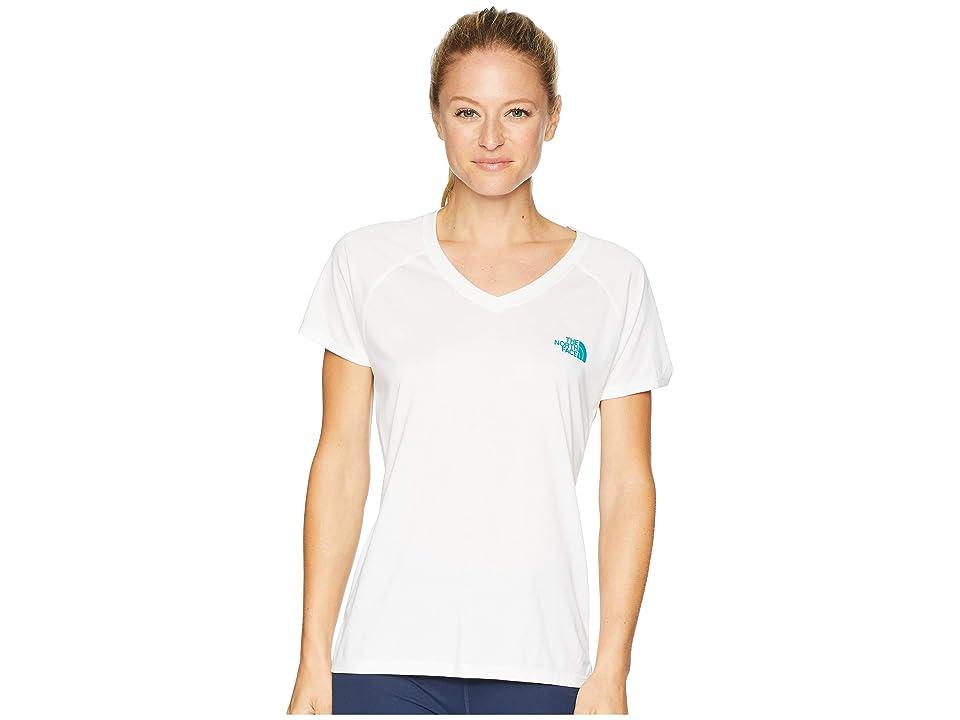 The North Face Short Sleeve Reaxion V-Neck Tee (TNF White/Kokomo Green) Women